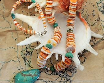 "Orange Spiny Oyster Shell and Kingman Turquoise Nugget Necklace and Bracelet set 18"" with 2"" extender  pendant 6 3/4"" bracelet"
