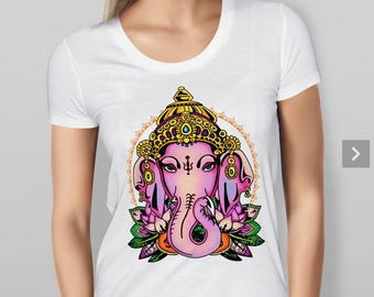 Womens  Ganesh T-shirt -  Features print of the Hindu God Ganesh black or white - 5 sizes available