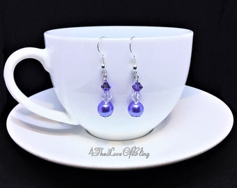 Mothers Day Gift, Lavender Pearls & Swarovski Crystal AB and Tanzanite AB Crystal Drop Earrings, Bridesmaid Gifts, Bridal Jewellery