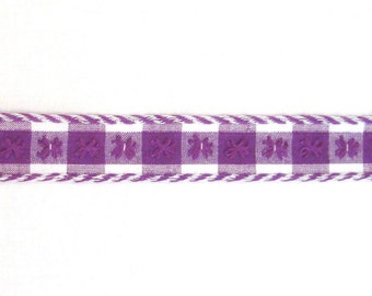 Purple & White Cotton Gingham Trim with Embroidered Flowers, Corded Edges- 2+ yards