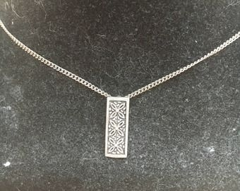 1930s Silver Bar Flower Pendant Necklace