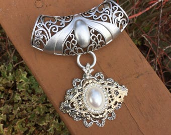 Silver scarf jewelry with pearl, rhinestone and silver filigree pendant. Scarf bling. Scarf jewelry.