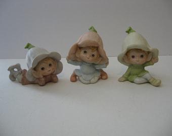 Flower Hat Pixie Babies -Porcelain Figurines - Set of 3