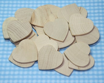 "25 - 125 Natural Wooden Hearts 1 1/2"" diameter 1/8"" thick"