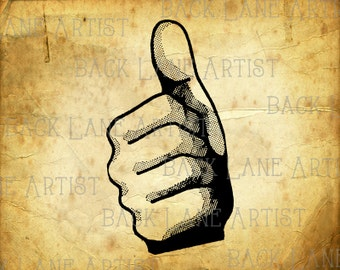 Thumbs Up Finger Clipart Lineart Illustration Instant Download PNG JPG Digi Line Art Image Drawing L543