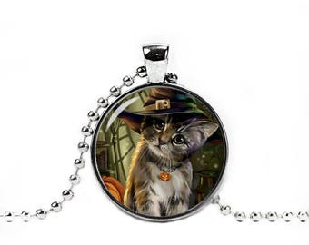 Halloween Kitten Necklace Cute Halloween Cat Pendant Cat Jewelry