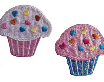 Cupcake Hearts Sparkly Embroidered Iron On Appliques