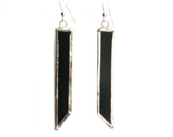 Black Earrings, Modern Earrings- Geometric Earrings- Black Glass Earrings- Dangling Earrings- Citybitz
