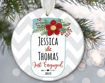 """Mason Jar Ornament """"Just Engaged"""" or """"Just Married"""" Ornament Personalized Christmas Ornament Newlywed Gift Wedding Gift Chevron OR517"""