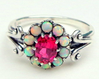 Ruby, Opal, Sterling Silver Ring, Victorian Design, Gemstone Flower Ring,Art Deco, Red Ruby Ring