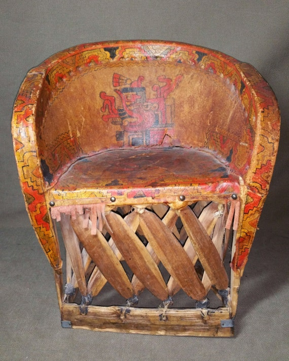 Like this item? - Antique Mexican Equipale Child's Chair Hand Painted AZTEC