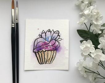Miniature Cupcake Watercolour Painting