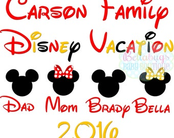 Family Disney Vacation PRINTABLE Digital Iron-On Transfer Design - Personalized - DIY - Do It Yourself - Vacation - Disney