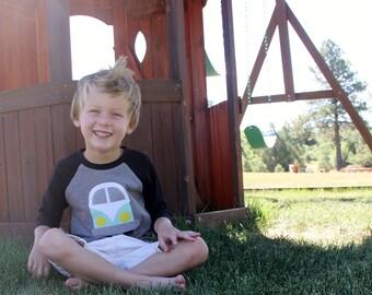 4T Kids Van Life Shirt, Vintage Bus Raglan, Toddler Clothing, Retro Kids Clothes, Campervan Shirt, Ready to Ship