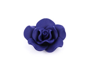 "2 Large NAVY BLUE Polymer Clay Rose Beads, 1.5"", pol0022"