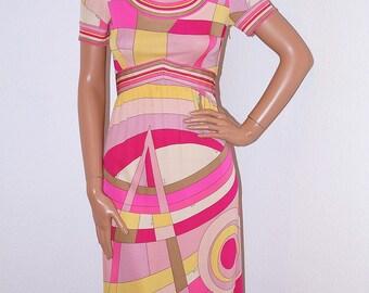 1960s Emilio Pucci Dress / Authentic Emilio Pucci Silk Op Art Geometric Dress / 60s Designer Vintage Pucci Silk Jersey Dress Flapper Fringe