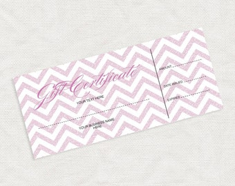 printable gift certificate in pink glitter chevron - business marketing promotion diy editable file last minute gift idea christmas download