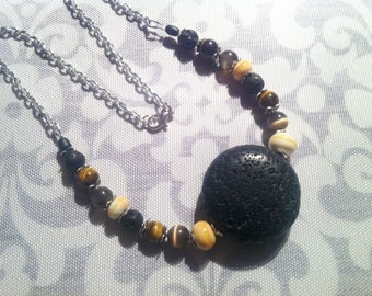 Lava stone and glass necklace