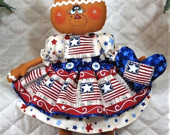 """Primitive Raggedy 14"""" AmEriCaNa GinGeR~HeArT/FLaG OrNiEs!~Gingerbread Doll!!"""