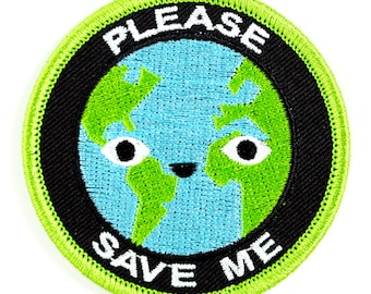 Please Save Me Earth Embroidered Iron-On Patch