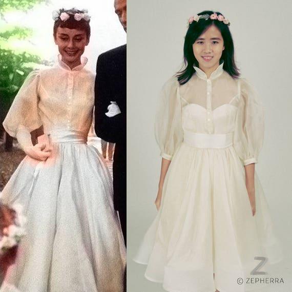 Audrey Hepburn/ Wedding Dress/ 1950s Wedding Dress/ Vintage/