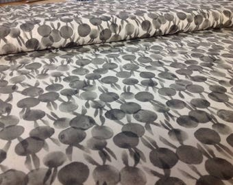 1/2 Yard - Cotton + Steel Sleep Tight BunBuns - Neutral Black Gray by Sarah Watts, sold by the 1/2 yard   Cotton Fabric Quilting RJR
