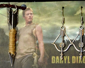 TWD , Daryl Dixon Crossbow and Arrow The Walking Dead Crossbow Earrings and Arrow Necklace  Jewelry Set