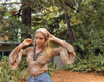 Leopard Print Flared Corset Shirt // 90s does 70s
