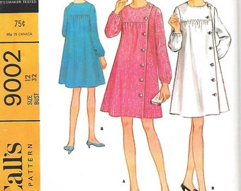 McCall's 9002 Misses Left Front Buttoned Yoked Dress Sewing Pattern, Size 12, Bust 32, UNCUT