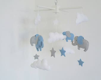 Elephants , stars and clouds mobile-entirely handmade baby mobiles