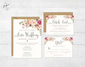 Wedding invitations stationery by darlingpapercompany on etsy floral wedding invitation printable wedding invitation suite rustic wedding invite boho wedding invite peonies wedding invite stopboris Image collections