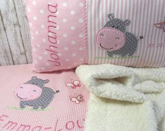 Spar-Set Babydecke und Namenskissen individualisiert für Mädchen
