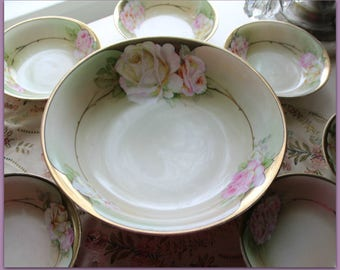 Beautiful hand painted Berry bowl set with pink roses Lovely  Great as salad bowl, too!