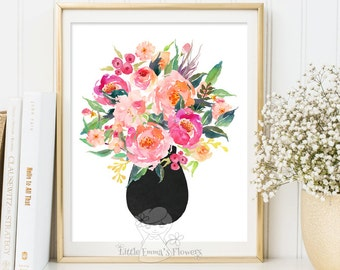 bouquet wall hanging print fine art floral art modern artwork wedding gift baby shower gift family room poster printable rustic decor id3-53