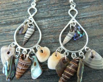 abalone seashell chandelier earrings shell earrings resort and cruise wear summer mermaids gypsy boho hippie style
