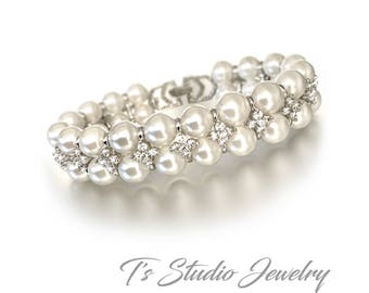 Pearl CZ Bridal Bracelet - 2 Strand Swarovski Pearl and Cubic Zirconia Wedding Cuff - Available in White or Ivory Pearls - MARISSA