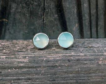 Mint Green Chalcedony Post Earrings - Stud Earrings - Chalcedony Stud Earrings - Faceted Post Earrings - Aqua Chalcedony Post Earrings