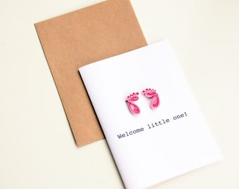 Welcome Baby Card - New Baby Card - Girl Baby Card - Congratulations Baby Card - Baby Boy Card - Baby Shower Card - Welcome Little One