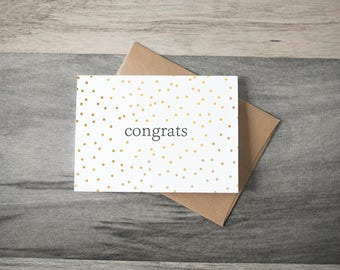 "Congratulations ""congrats"" Card - yellow dots"