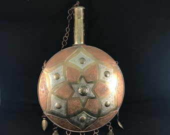 Vintage Brass Copper and Nickle Heavy Stamped Tobacco Canteen