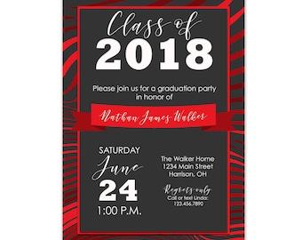 Graduation Party Invitation Red, Red Graduation Invitation Printable, Graduation Invitation Red, Red Graduation Party Invite