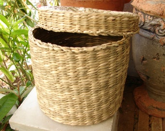 small vintage,round,woven basket with lid,natural wicker oriental storage, 5''h.