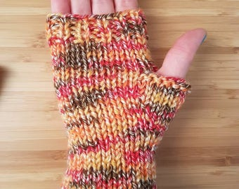 Multi-coloured Short Fingerless Mitts