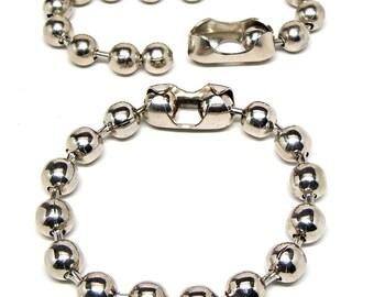 Anklet or Bracelet 9.5mm Ball Bead Nickel Plated Steel Chain 8, 9, 10, 11 or 12 Inch Skater Biker Goth Surfer Rocker Punk