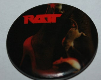RATT 1980's Rock Group pin-back button pin badge