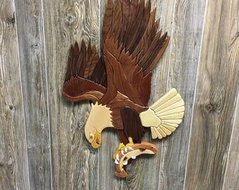 Eagle Fishing Intarsia