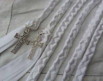 Purity white Wedding cord- all white with rhinestone crosses