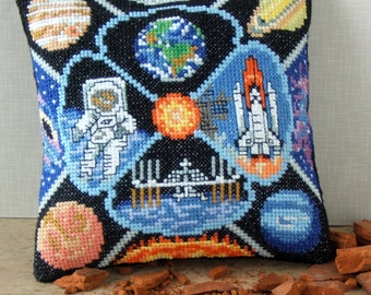 Space Travel Mini Cushion Cross Stitch Kit
