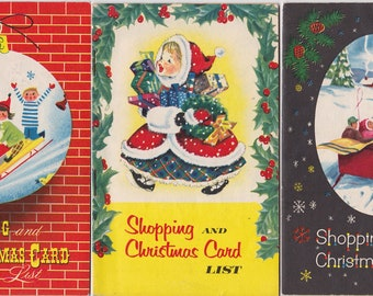 3 Vintage Mid Century Modern 1958 Shopping Xmas Card List Book Poughkeepsie NY