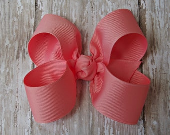 "Coral Hairbow Coral Large Hair Bow 4"" Alligator Clip Girls Hairbow Coral Hair Bow Coral Large Bow 4 Inch Coral Hair Bow"
